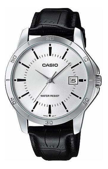 Relógio Masculino Casio Couro Preto Visor Prata Com Data