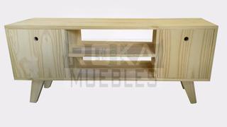 Mesa De Tv Retro Lcd Con Puertas 1.20x0.30x0.55 Pino Roka