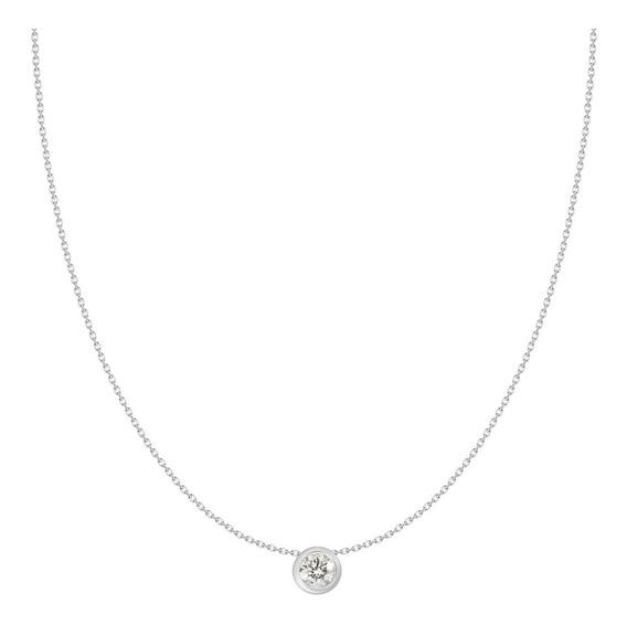 Colgante Solitario Oro Blanco 18k 1 Diamante Brillante