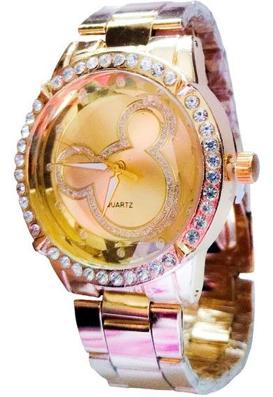 Relógio Feminino Dourado Strass Top Minnie + Brinde