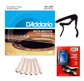 Daddario Violao 011 Ez 910-b + Afinador + Capotraste + Pino