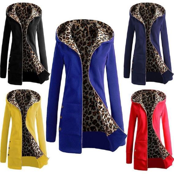 Chaqueta Con Capucha Mujer Leopardo Forro Color Sólido