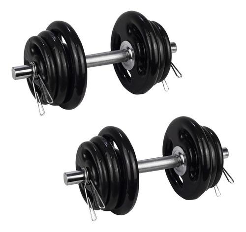 Imagem 1 de 7 de 2 Halteres 40cm+24kg Anilhas Emborrachadas 4x3kg 4x2kg 4x1kg