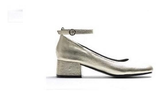 Zapato Mujer Guillermina Natacha Cuero Metal Platino #694