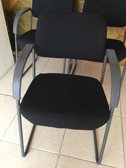 Trio Poltrona Cadeira Fixa Escritório C/ Braços - Usado Sp