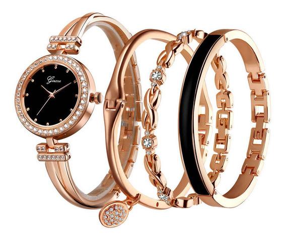 Relógio Feminino E 4 Pulseiras Promoção Frete Grátis.