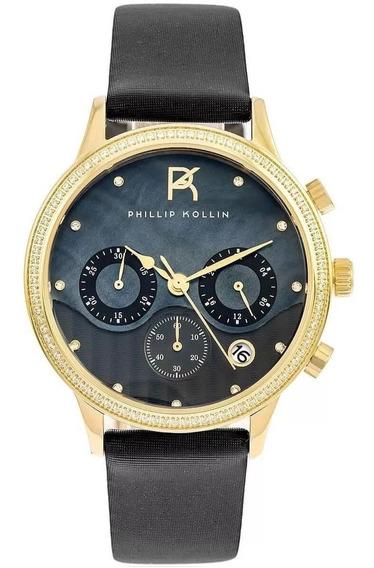 Relógio Feminino Phillip Kollin Santorini Zy28001p Gold Blac