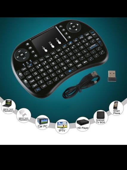 2.4g Preto Sem Fio Recarregável Air Mouse Mini Teclado Qwert