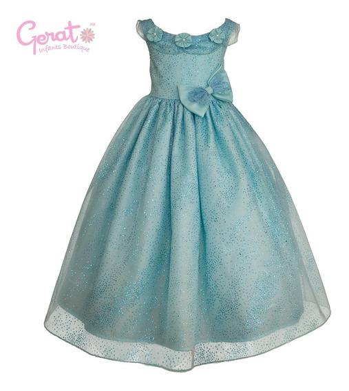 Vestido De Fiesta Para Niña Gerat Color Agua