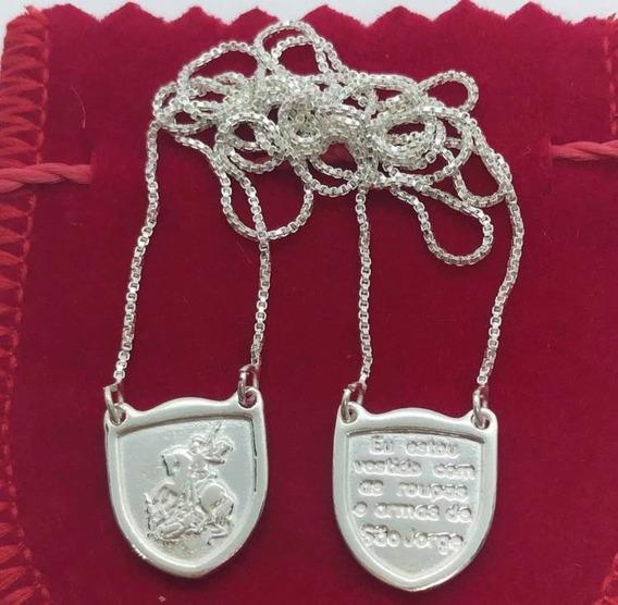 Escapulário Com Escudo De São Jorge Em Prata 925