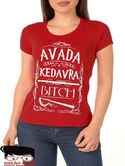Camiseta Baby Look Harry Potter Avada Kedavra Bitch Feitiços