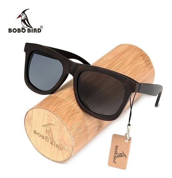 Óculos Sol De Madeira Artesanal Bobo Bird Ag005 Black Pure