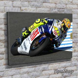 Cuadro Lienzo 75x50 Valentino Rossi Corredor Moto Gp Deporte