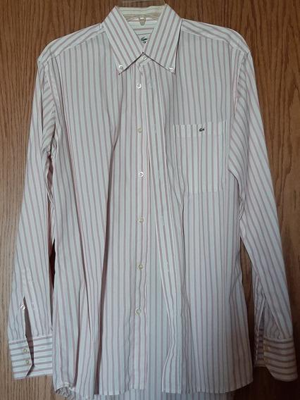 Camisa Casual Lacoste Talla 40 Rosa A Rayas