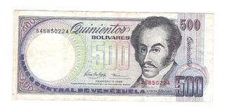 500 Bolívares Serie S Del 05-02-1.998