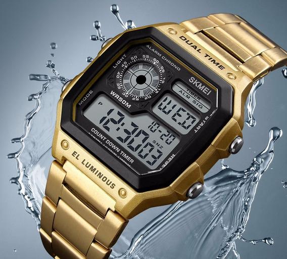 Relógio Digital Skmei 1335 Original Modelo Dourado