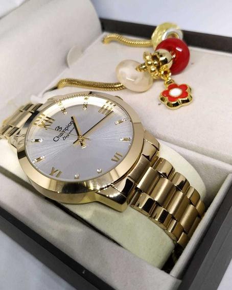 Relógio Original Champion Dourado + Pulseira Cn25163s C/nf-e