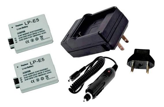 Kit 2 Baterias Lp-e5 + Carregador Para Canon