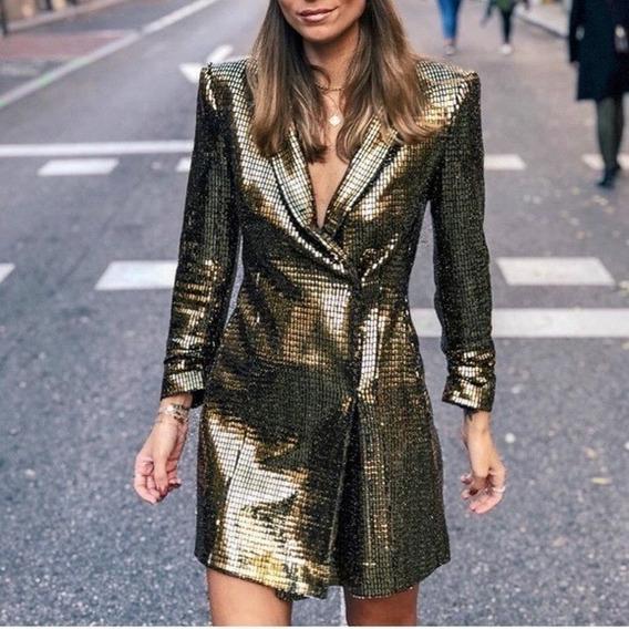 Zara Blazer Vestido Dorado