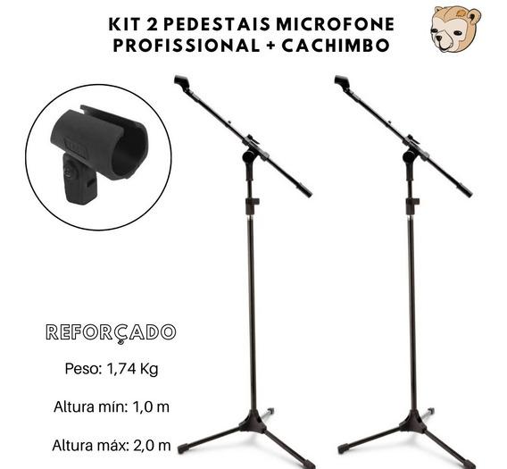 Kit 2 Pedestal Para Microfone + Cachimbo