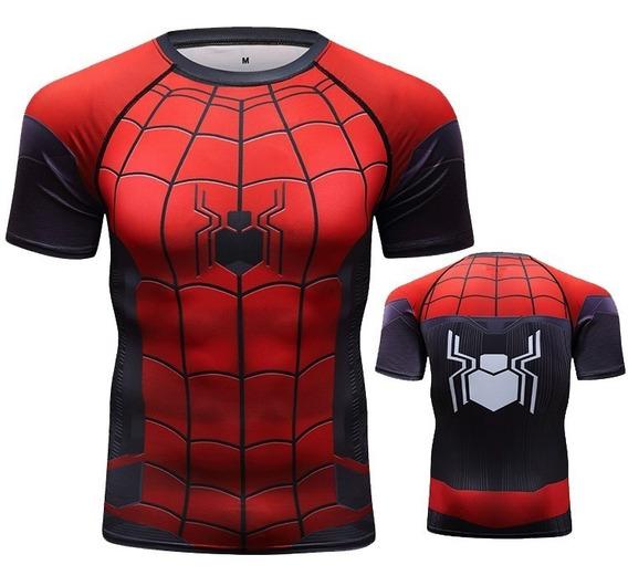 Playera Gym Lycra Spiderman Far From Home Cosplay Difraz