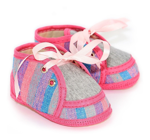 Sapato Bebê Tecido Listrado