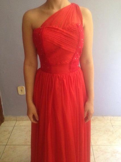 Vestido Longo Vermelho Formatura- Manequim 36