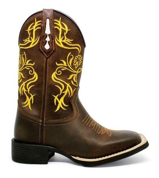 Bota Texana Country Bordado Amarelo