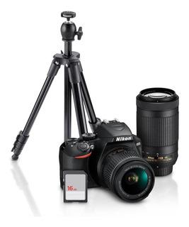 Camara Nikon D3500 Kit Dos Lentes 18-55mm Y 70-300mm+tripe+s