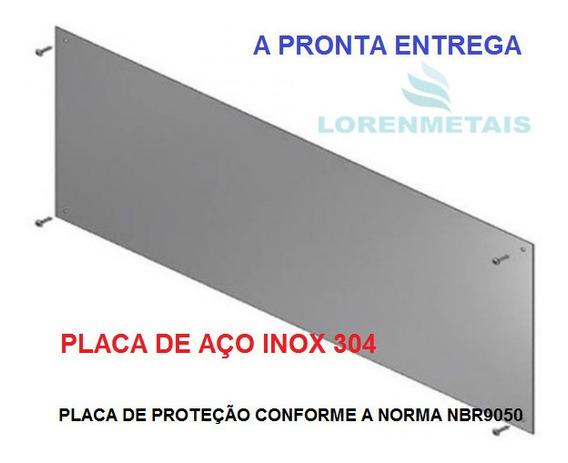 Placa + Chapa Inox Escovada Protecao Porta 40 X 90 Cm