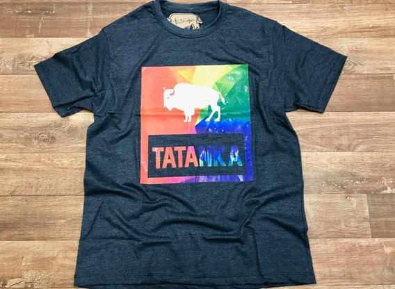 Camiseta Country Masculina Tatanka Cinza Escuro Estampada