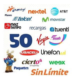 Recarga Tiempo Aire At&t Unefon Telcel50 Plan Sin Limite