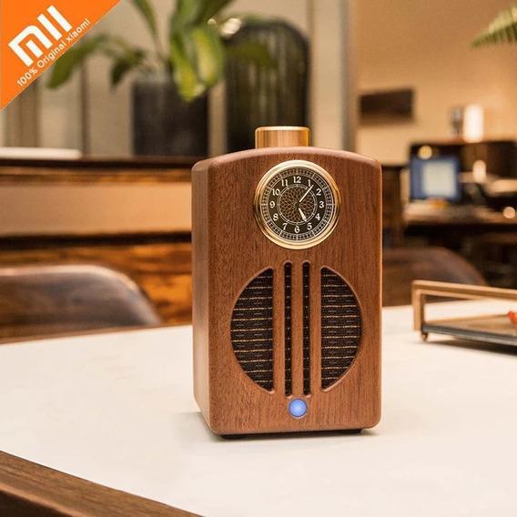 Caixa Som Bluetooth Speaker Recarregável Retrô Madeira Nobre