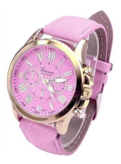 Relógio Geneva Dourado Pulseira Rosa Rg001f Promoção!!!