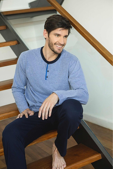 Pijama Hombre Manga Y Pantalón Largo L Tipico 849 Algodon
