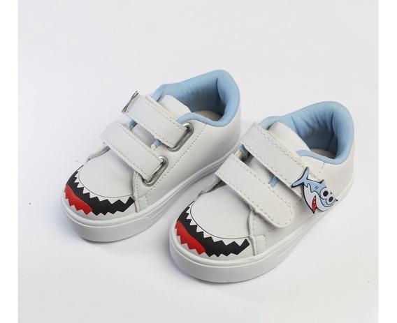 Tenis Infantil De Velcro Baby Shark Para Meninos