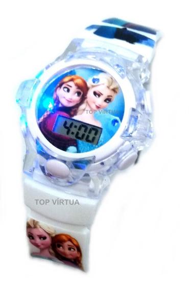 Relógio Frozen Infantil Com Som Luzes Branco 3d Original