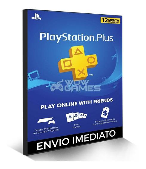 Cartão Psn - Playstation Plus 12 Meses Americano Us Ps3 Ps4