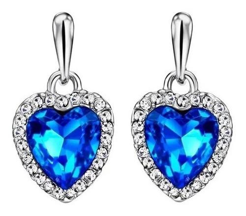 Imagen 1 de 6 de Aretes  Oro 18k Laminado De Corazón De Cristales Swarovski