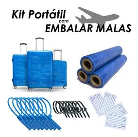 Kit De Filme Esticável Cor Azul Para Embalar Mala De Viagem