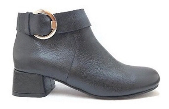 Zapato Mujer Bota Baja Natacha Cuero Negro #691