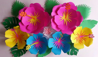 Flores Gigantes De Papel. Decoracion Moana Hawaiana