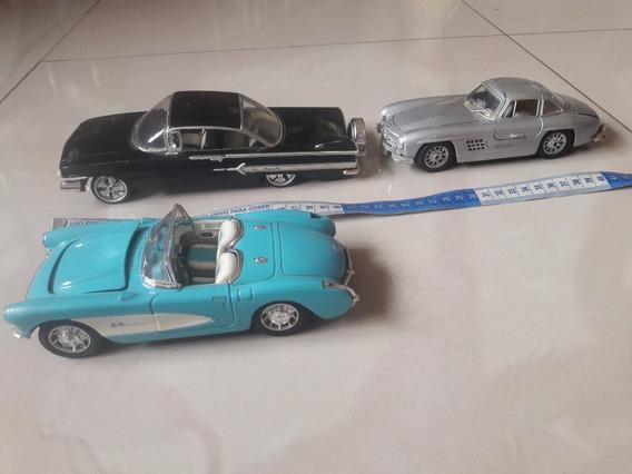 Lote 03 Minis Escala 1/24 Corvette Mercedes 300sl Impala