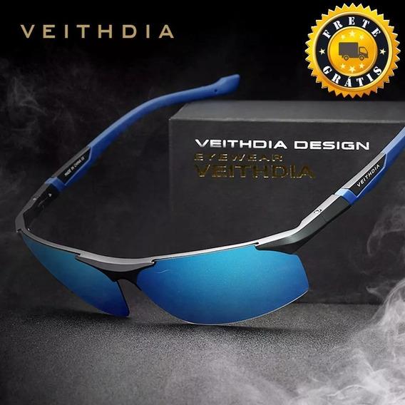 Óculos Sol Masculino Uv400 Polarizado Veithdia Premium Gray§