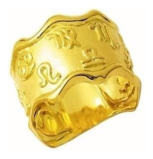 Anel Aliança Zodiaco Signo Trabalhado 1.5 Cm Ouro 18k Desenh