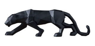 Figura Decorativa Pantera Poligonal De Resina Adorno 44 Cm
