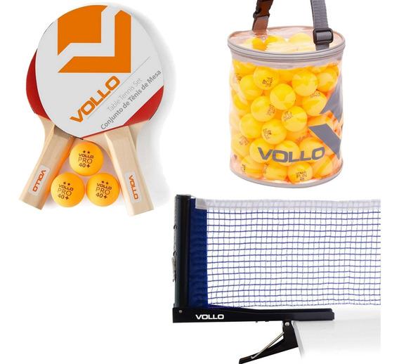 Kit Tênis De Mesa Vollo 2 Raquetes + 100 Bolas E Rede Nylon