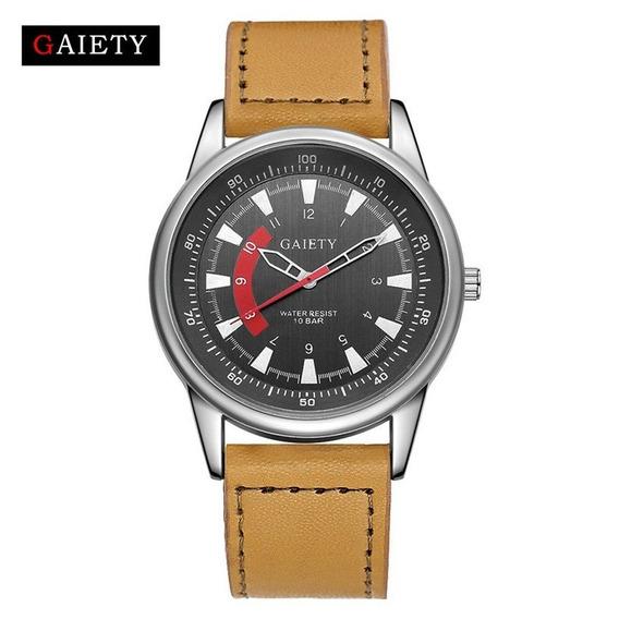 Relógio Gaiety Novo Original Pulseira Couro Pulso Promoção.