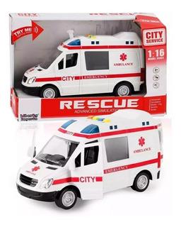 Ambulancia Brinquedo Sirene Com Luz E Som Abre Portas