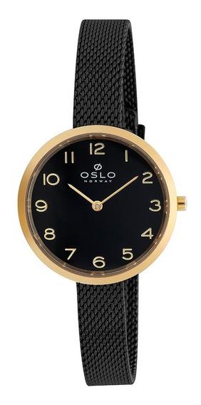 Relogio Oslo Feminino Analogico Oftsss9t0017 Preto C/dourado